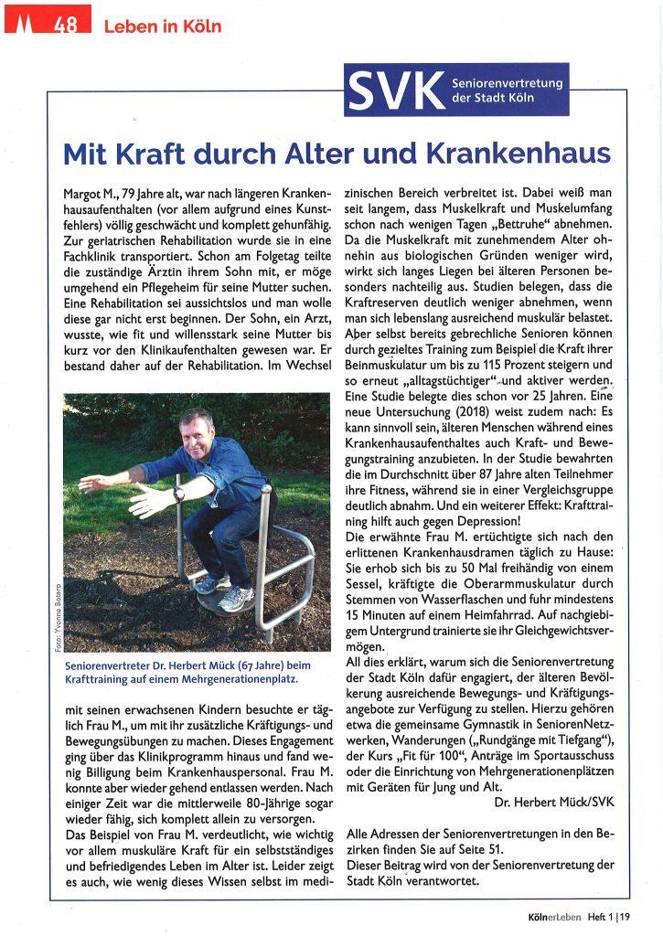 """Hier steht der Text """"Mit Kraft durch Alter und Krankenhaus"""" aus der Zeitschrift KölnerLeben 2019-1 mit einem Foto, das den Seniorenvertreter Dr. Herbert Mück beim Sport auf einem Mehrgenerationenplatz zeigt"""
