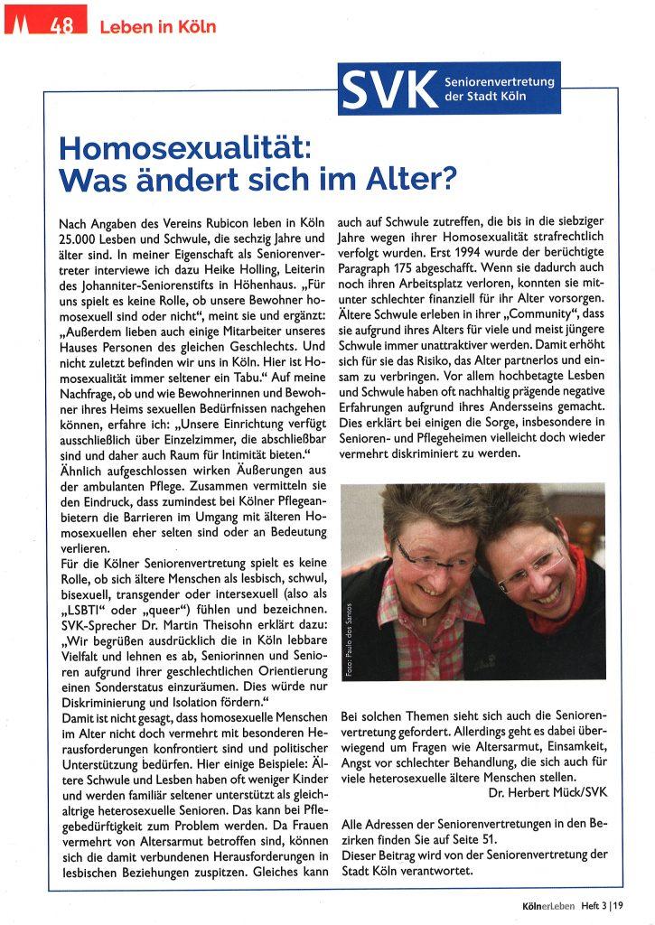 Beitrag und Foto zum Thema Homosexualität im Alter
